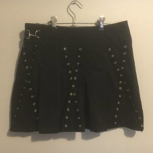 Pleated Mini Skirt with Metal Detail